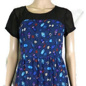 Forever 21 Black Print Dress S